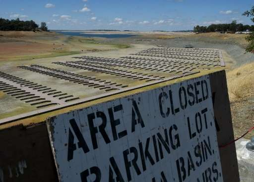 Boat docks sit empty on dry land, as Folsom Lake reservoir near Sacramento stands at only 18% capacity, as the severe drought co