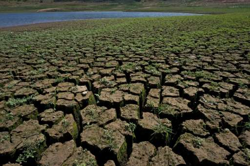 Brazil's Jaguari dam dried up in 2014 during a severe drought affecting Sao Paulo state