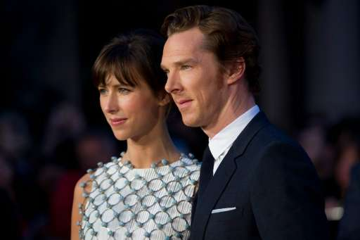 British actor Benedict Cumberbatch (R), pictured with wife Sophie Hunter (L) in London on October 11, 2015, was among the entert