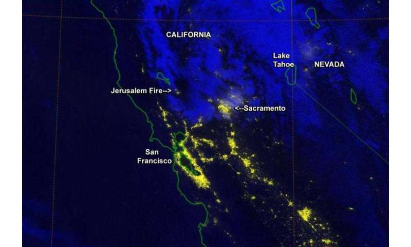 California's Jerusalem fire at night