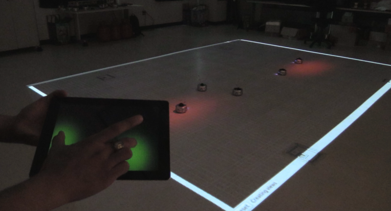 Controlling swarms of robots with light and a single finger