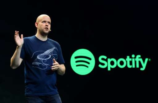 Daniel Ek, CEO of Spotify, speaks to reporters at a news conference on May 20, 2015 in New York