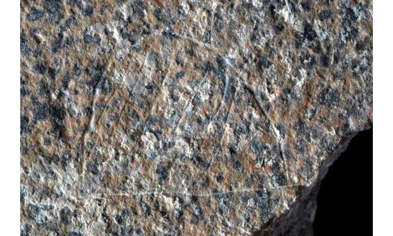 Engraved schist slab may depict paleolithic campsites