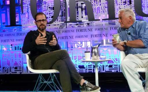 Evan Williams, a co-founder and current board member of Twitter and the current CEO of the Medium blogging platform, speaks at t