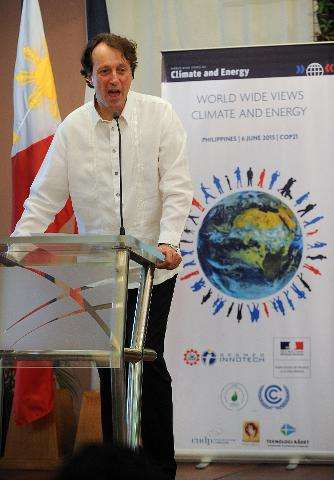"French ambassador to the Philippines Gilles Garachon speaks during a climate debate forum titled ""World Wide Views on Clima"