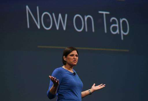 "Google Now director Aparna Chennapragada announces 'Now On Tap"" during the 2015 Google I/O conference on May 28, 2015 in Sa"