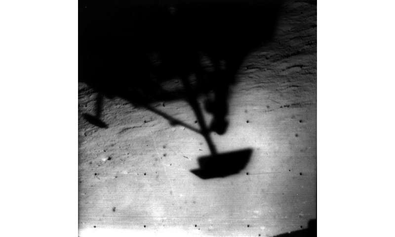 Image: Shadow of Surveyor 1 on the moon
