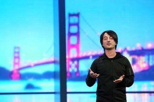 Joe Belfiore, Microsoft vice president, delivers a keynote address at the 2014 Microsoft Build developer conference on April 2,