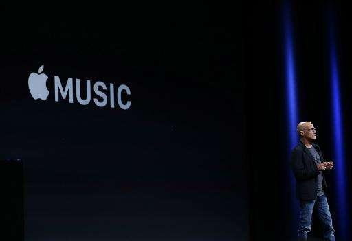 Johnny Iovine announces Apple Music during Apple WWDC on June 8, 2015 in San Francisco, California