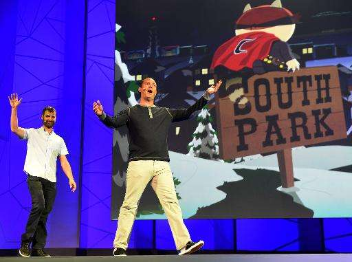 """Matt Stone (L) and Trey Parker announce """"South Park: The Fractured but Whole"""" game before the opening day of the Elect"""