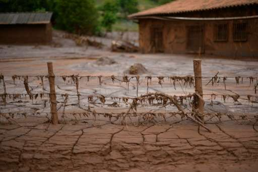 Mud-covered Paracatu de Baixo, buried by an avalanche of mud and mining sludge, is seen in Minas Gerais, Brazil, on November 9,