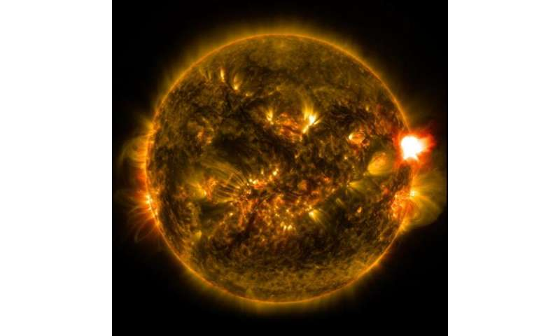 Nasa releases images of first notable solar flare of 2015 for Nasa press release