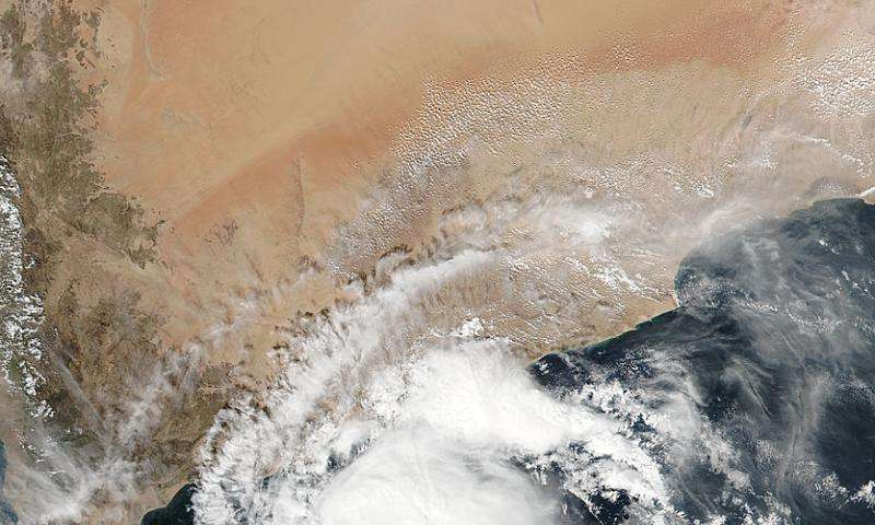 NASA sees an elongated Tropical Cyclone Megh in the Gulf of Aden