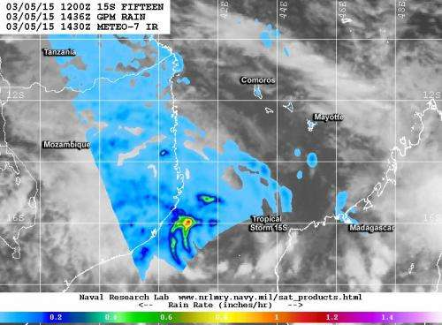 NASA sees Mozambique Channel's new tropical storm
