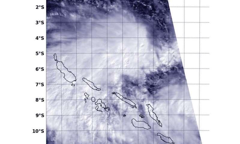 NASA sees new depression forms near Solomon Islands