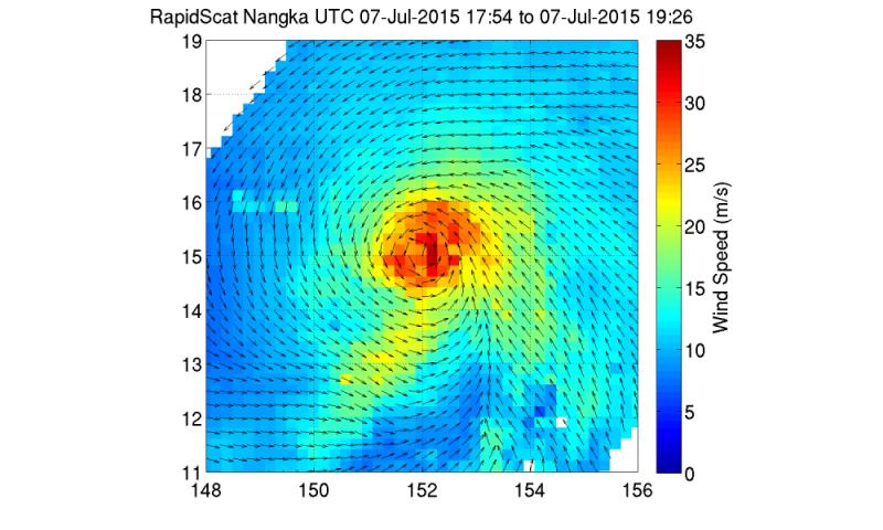 NASA sees powerful winds around Typhoon Nangka's center
