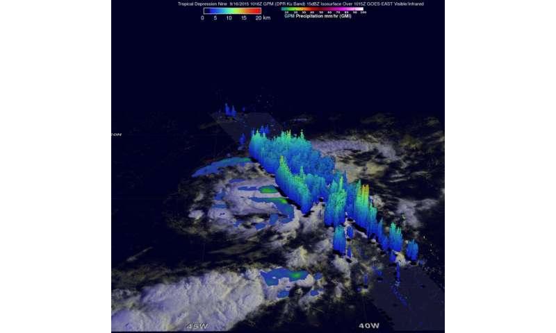 NASA's GPM analyzes Tropical Depression 9 rainfall
