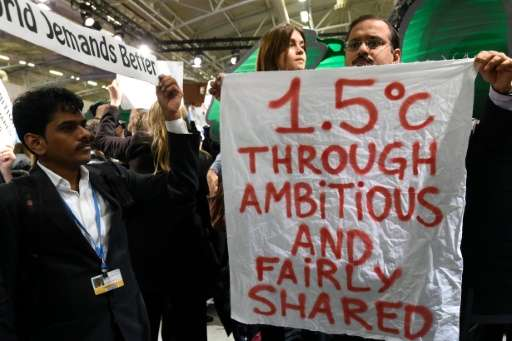 NGO activists keep the pressure on negotiators at the COP21 global climate summit on December 9, 2015, in Paris as the US joined