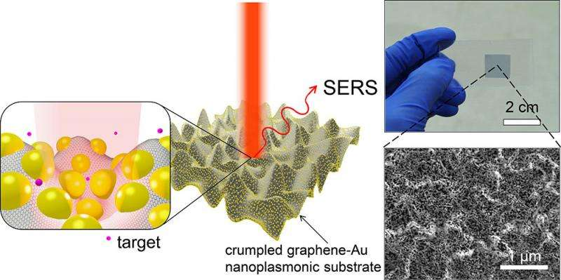 Novel 'crumpling' of hybrid nanostructures increases SERS sensitivity