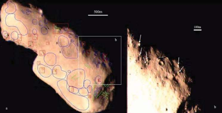 Observing distinctive geologic features on asteroid Toutatis