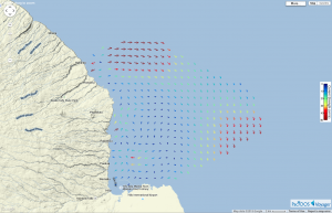 Ocean surface currents now being measured in near real-time off Hilo