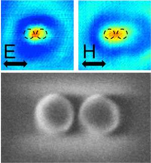Pairs of silicon nanocylinders can locally create and enhance light's magnetic field