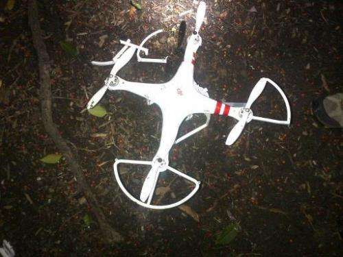 Photo obtained January 26, 2014, from US Secret Service shows a smal drone that crash landed at the White House in Washington, D
