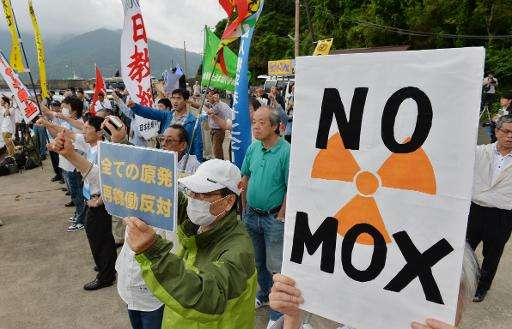 Protesters stage a demonstration against arrival of a vessel loaded with reprocessed nuclear fuel for the Kansai Electric Power