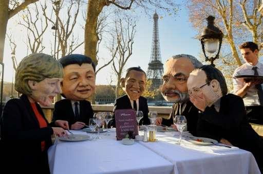 """World leaders"" (from L) Angela Merkel of Germany,  Xi Jinping of China, Barack Obama of the US, Narendra Modi of Indi"
