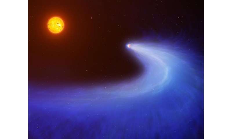 Red dwarf burns off planet's hydrogen giving it massive comet-like tail