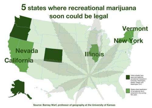 Researcher forecasts next 5 states likely to OK recreational marijuana