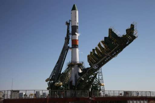 Russia's Progress M-28M cargo ship pictured on the launch pad shortly before the blast off at the Russian-leased Baikonur cosmod