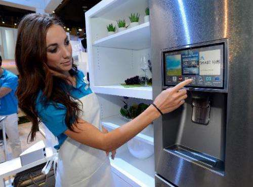 Samsung spokesmodel displays the connectivity feature on a smart refrigerator during the International CES at the Las Vegas Conv