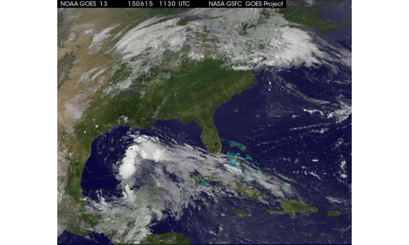 Satellite animation shows System 91L developing in the Gulf of Mexico