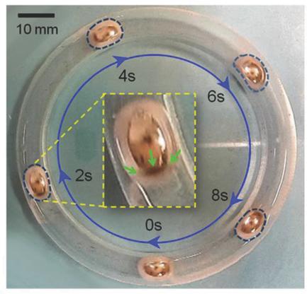 Shape shifting liquid metal able to propel itself through liquids