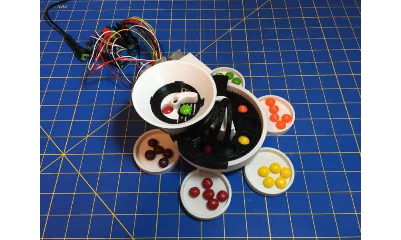 Skittles color-sorting used as challenge for maker's 3D printer (w/ Video)