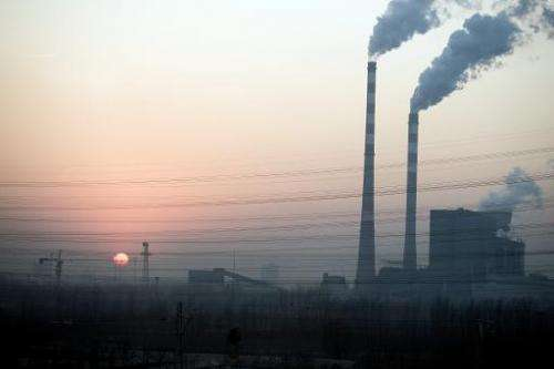 Smoke stacks pictured near Hengshui in China's Hebei province on December 22, 2014