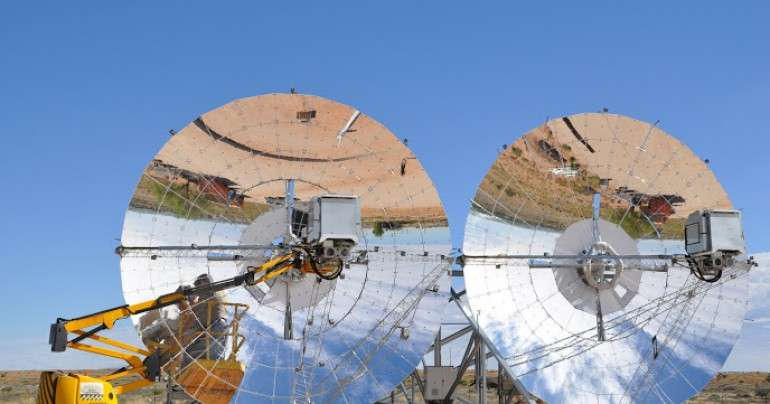 Solar initiative in Africa has rotating dishes to follow the sun