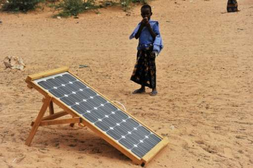 Solar panels in the Somiali town of Wisil provide enough energy to charge mobile phones