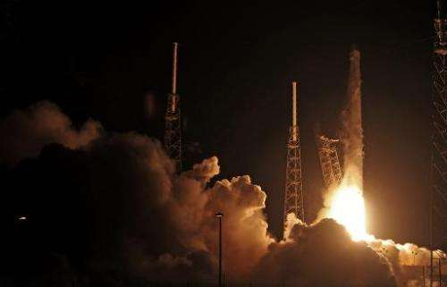 SpaceX's Falcon 9 lifts off early on September 21, 2014, from launch complex 40 at Cape Canaveral, carrying the Dragon CRS4 to t