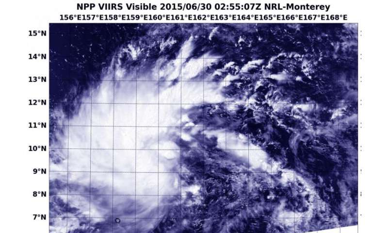 Suomi-NPP satellite sees formation of Tropical Depression Chan-Hom
