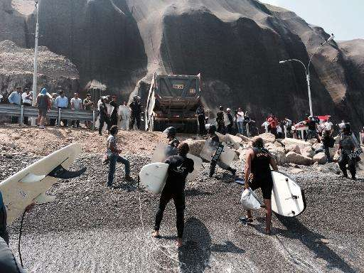 Surfers in April confronted riot police guarding trucks dumping rocks on La Pampilla Beach, known around the world for its waves