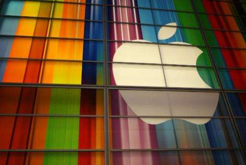 The Apple logo is seen in this September 2012 file photo at the Yerba Buena Center for Arts in San Francisco