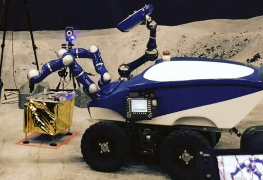 The blue-and-white Interact Centaur fibreglass robot, which cost less than 200,000 euros ($224,000) to build, has a camera on it