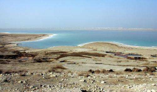 The drying shores of the Dead Sea, south of the Jordanian capital Amman, seen on November 9, 2009