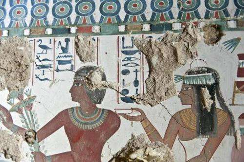 The Egyptian antiquities authorities released this picture showing a fresco inside a tomb belonging to Sa-Mut on March 10, 2015