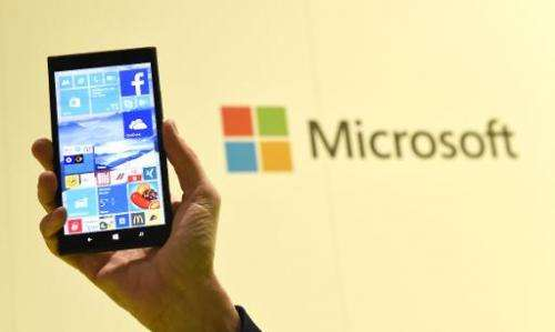 The Microsoft's Windows 10 operating system at the CeBIT technology fair in Hanover on March 15, 2015