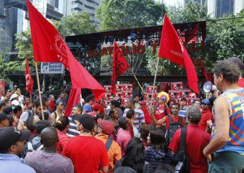 The MST landless movement, whose members are pictured here at a protest in Sao Paulo, Brazil on May 8, 2014, said about 1,000 wo