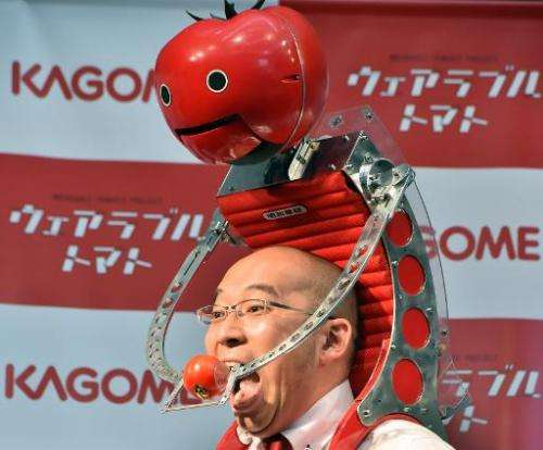 """The """"Tomatan"""" backpack can hold six mid-sized tomatoes, enough to power runners through this weekend's Tokyo Marathon,"""