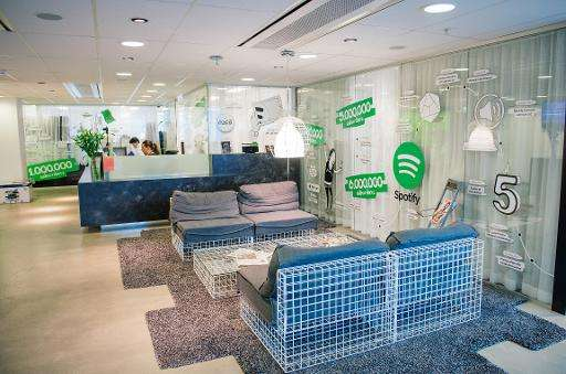 The reception area of Spotify headquarters in Stockholm, pictured in February 2015